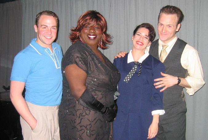 Benji Randall as Gene Kelly, Sade Pendarvis as Ella Fitzgerald, Kate Botello as Judy Garland, and Jared Bradshaw as Judy's sweetheart assistant, Joe